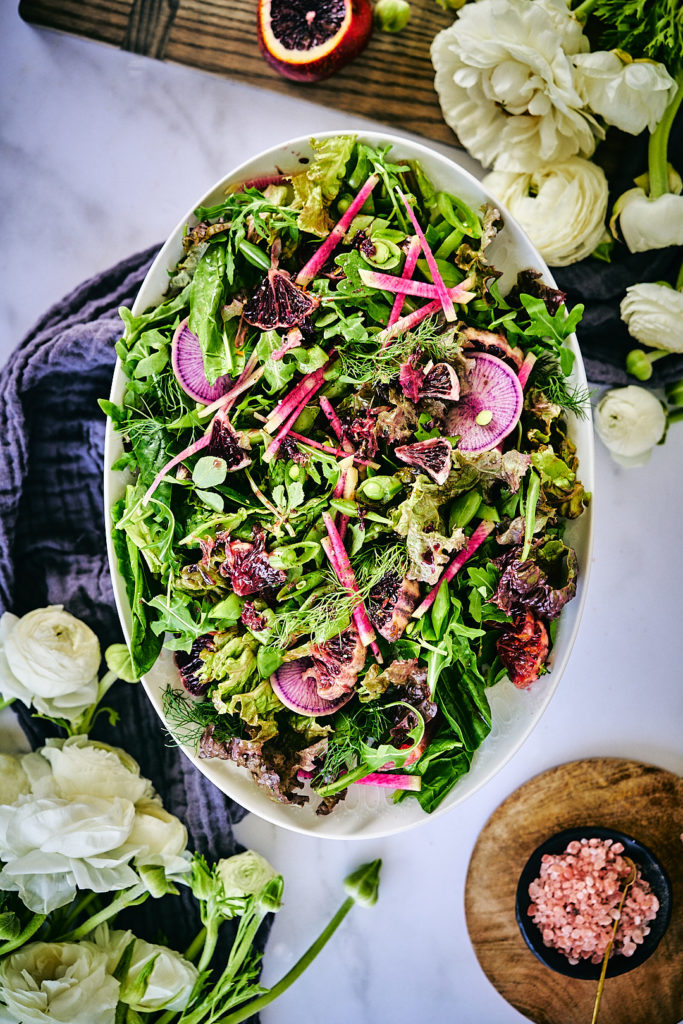 Herb Salad with Pomegranate Miso Dressing | Proportional Plate | Best dressing you will every have!
