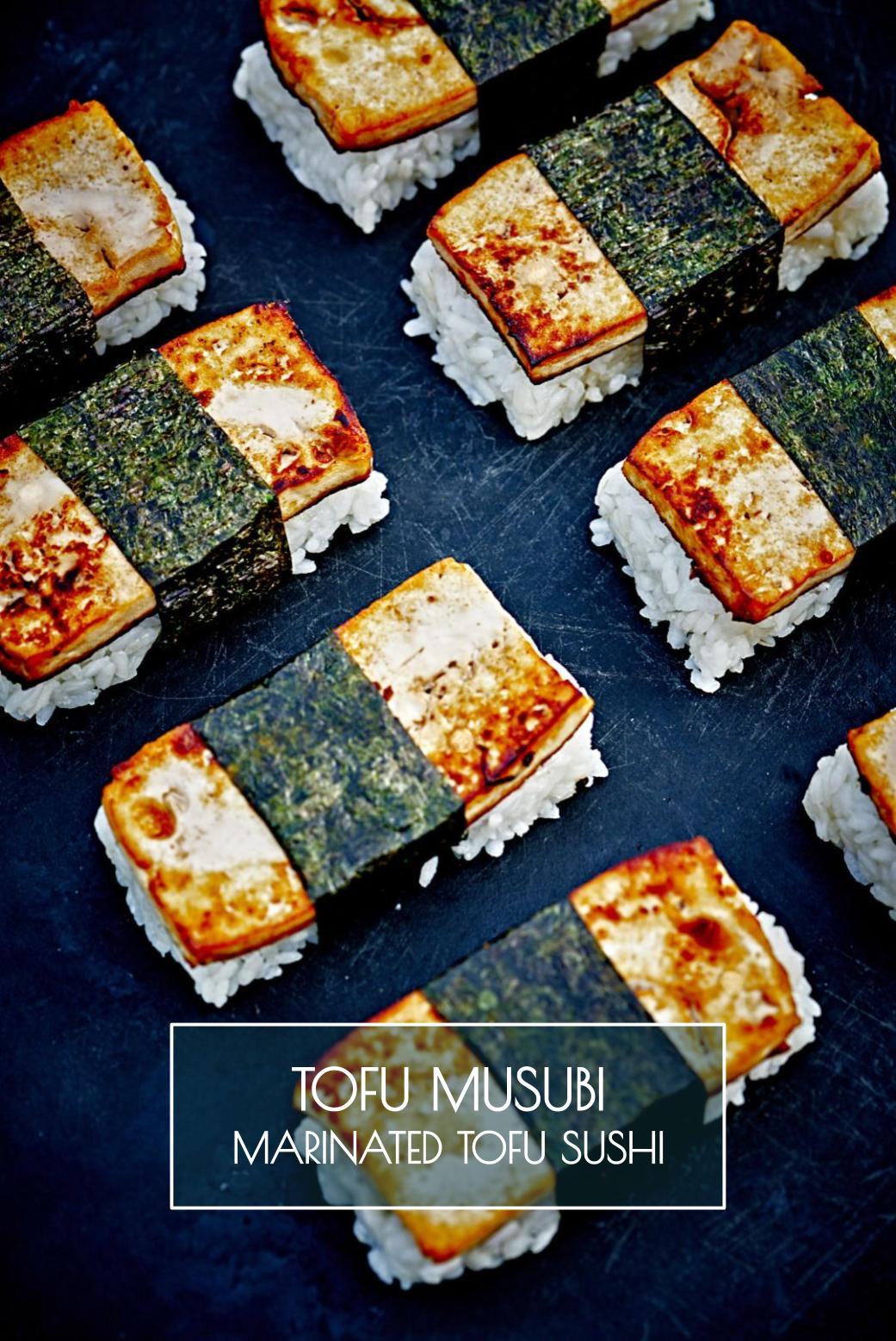 Tofu Musubi - Marinated Tofu Sushi   Proportional Plate   A vegan twist on the classic spam musubi, this tofu musubi will win over your heart!