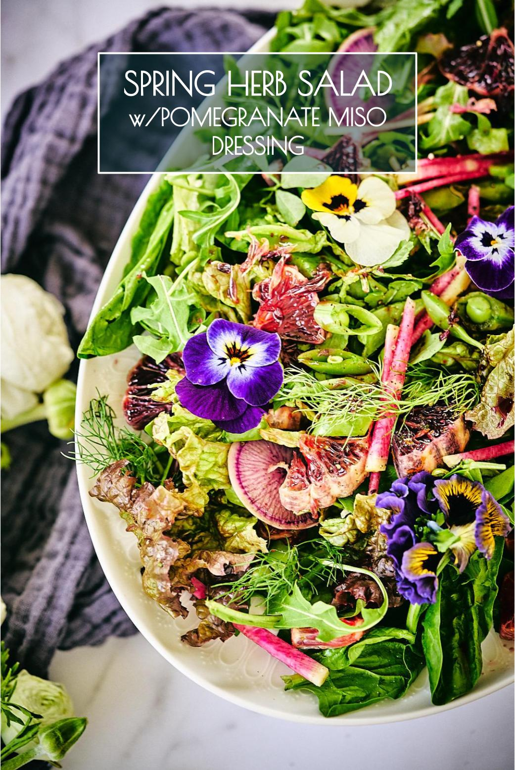 Herb Salad with Pomegranate Miso Dressing | Proportional Plate | This salad holds a special place in my heart & I\'m pretty sure this will be your new favorite salad dressing!