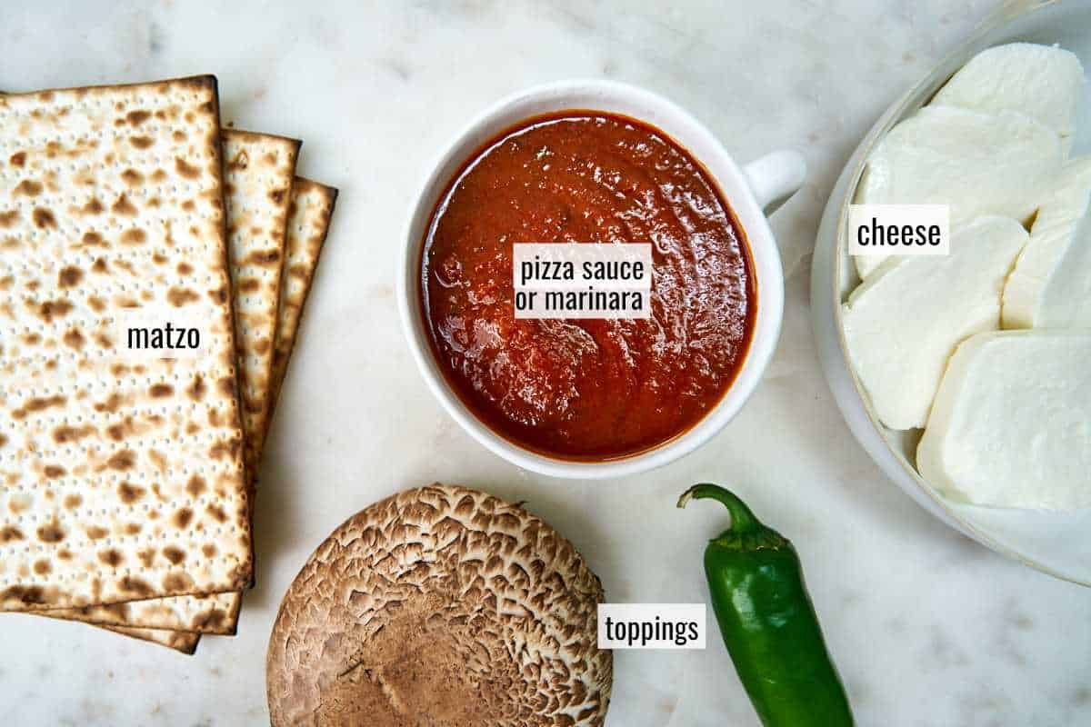 Matzo and other pizza ingredients.