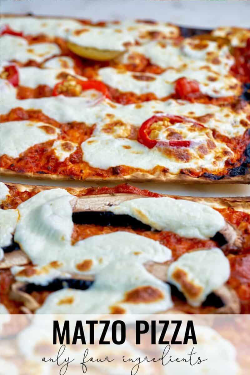 Close up of pizza on matzo.