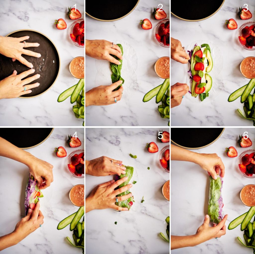 Six step by step images on how to rolling spring rolls.