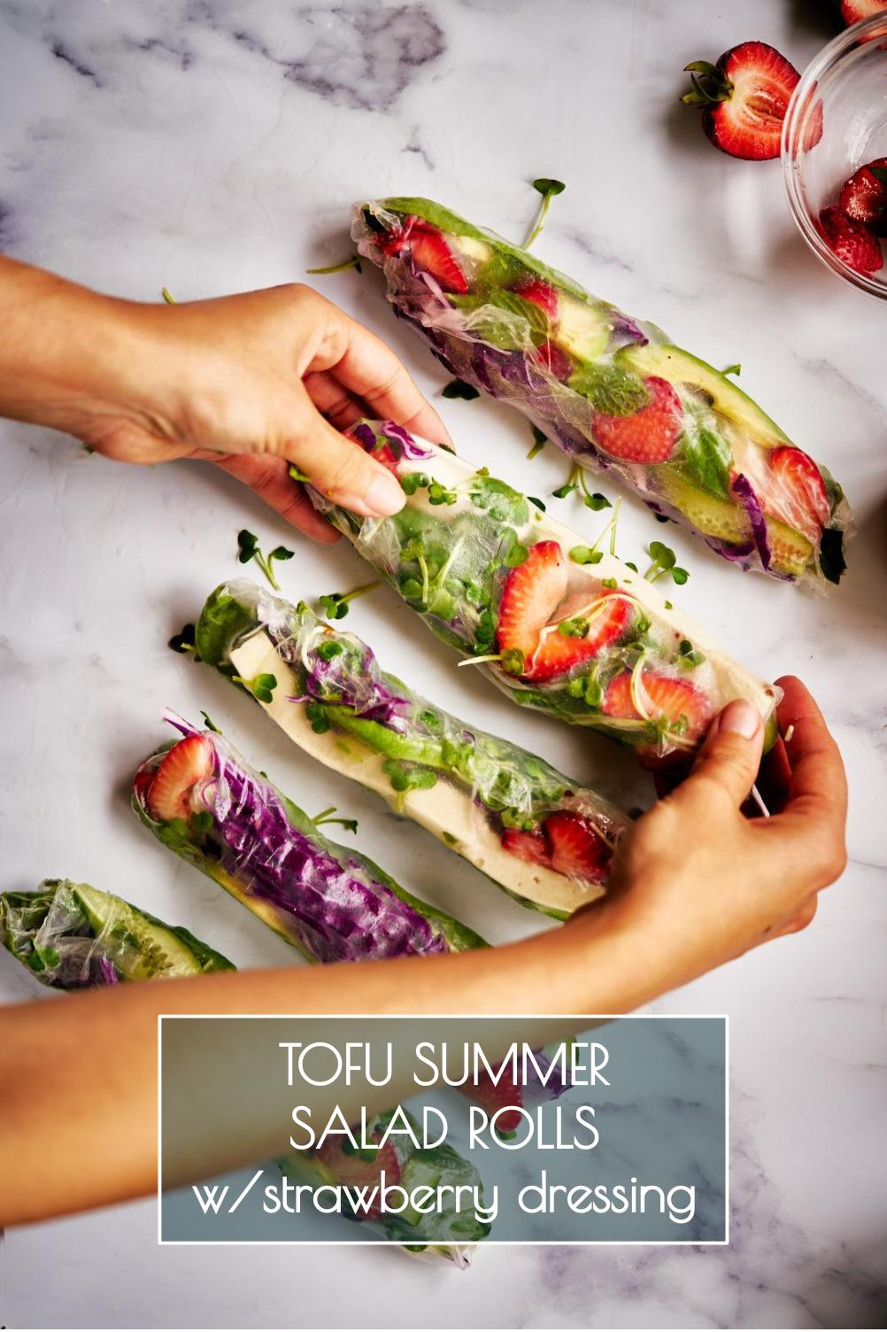 These tofu summer salad rolls with strawberry dressing will add a new level of fun to your summer salads. Plus, they\'re a great way to get everyone involved in making dinner! #strawberries #strawberry #summerrolls #saladrolls #salad #summersalad