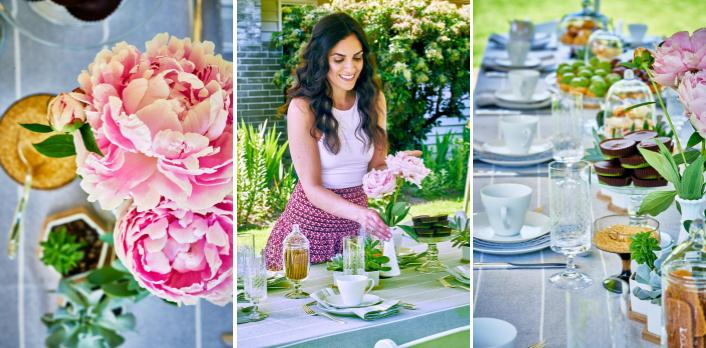 Garden tea party photos with pink peonies and a girl.
