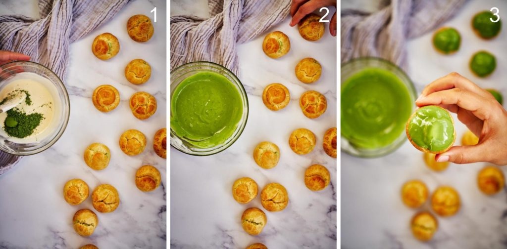 Steps of diping cream puffs in green matcha chocolate.