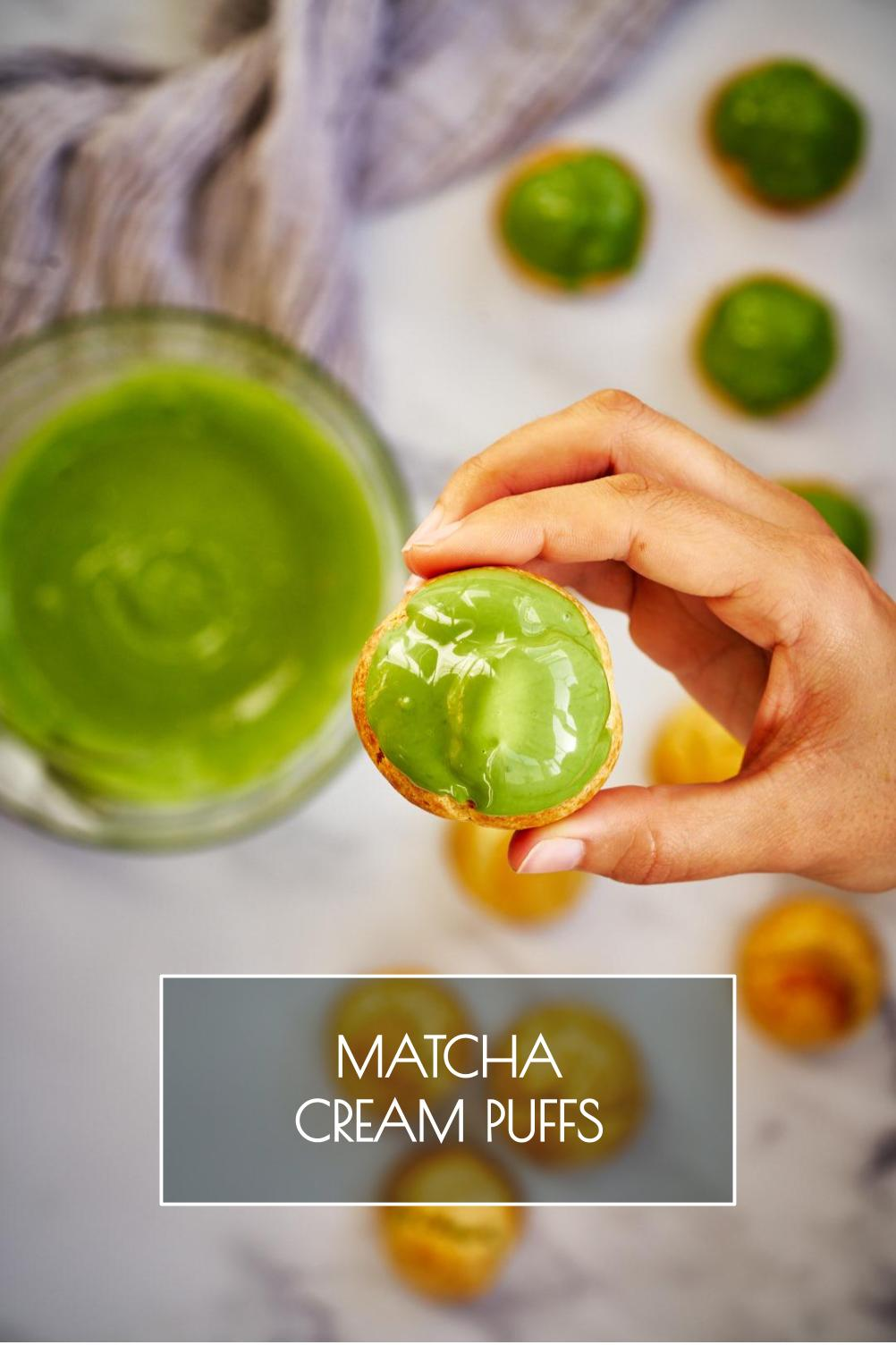 Matcha mascarpone cream puffs with step by step instructions from the choux pastry to the matcha cream filling so you can make them perfectly at home. #matcha #choux #creampuffs