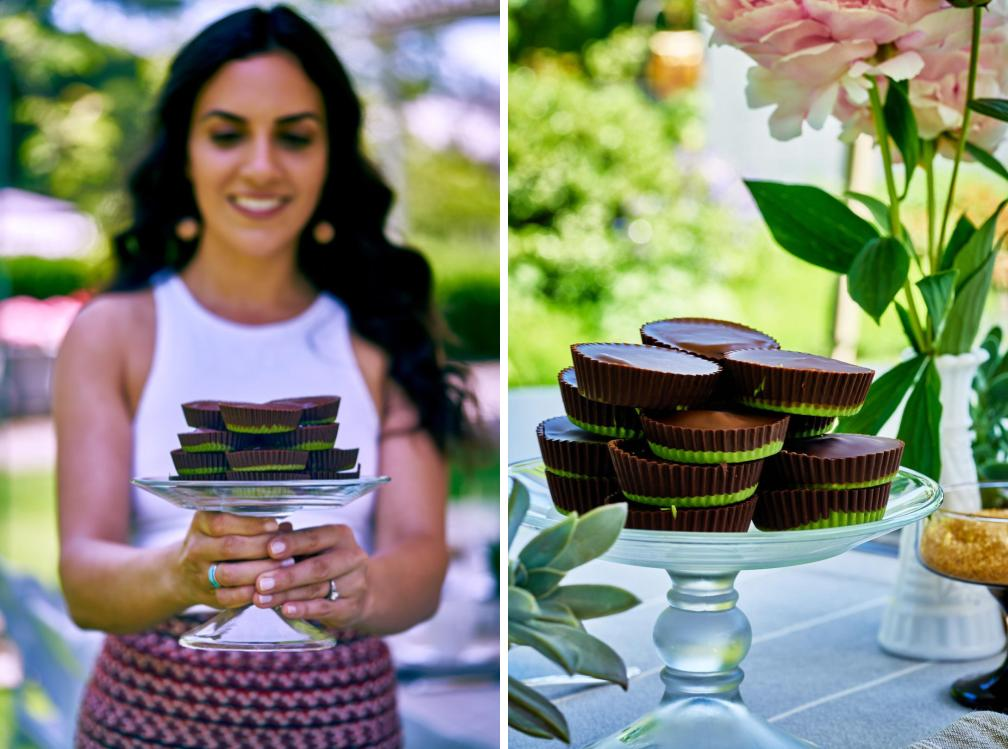 Side by side photos of peanut butter cups with matcha and a girl holding chocolates.