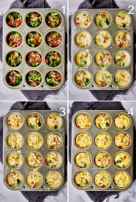 Step by step filling egg cups in a muffin tin.
