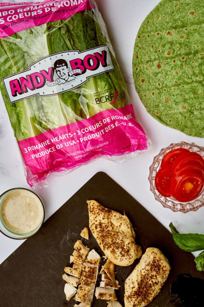 Andy Boy romaine lettuce with chicken tomatoes and spinach wraps.