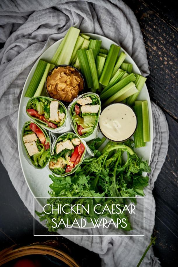 These healthy chicken caesar salad wraps are perfect for your next picnic, hike, or any summer meal. Lunch doesn't get much easier than this! #caesarsalad #saladwraps #salad #chickensalad #chicken