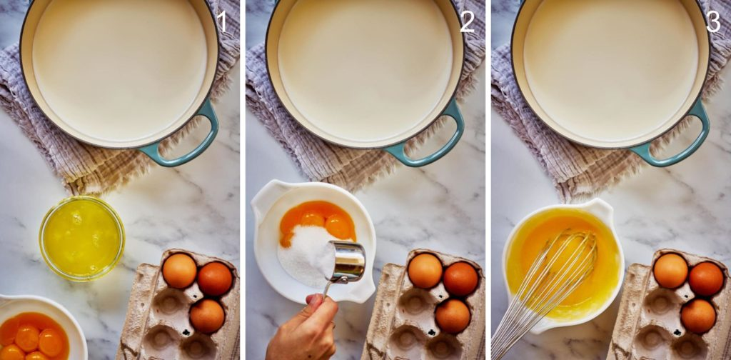Pot of milk with step by step egg yolk and sugar mixture.