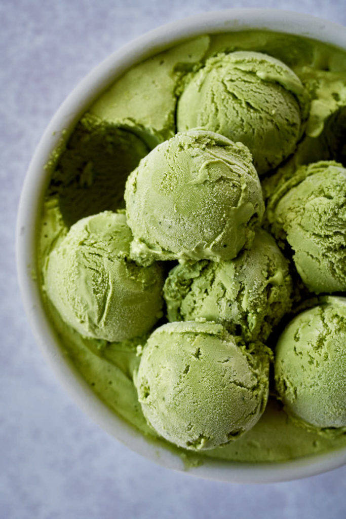 Scoops of green ice cream.