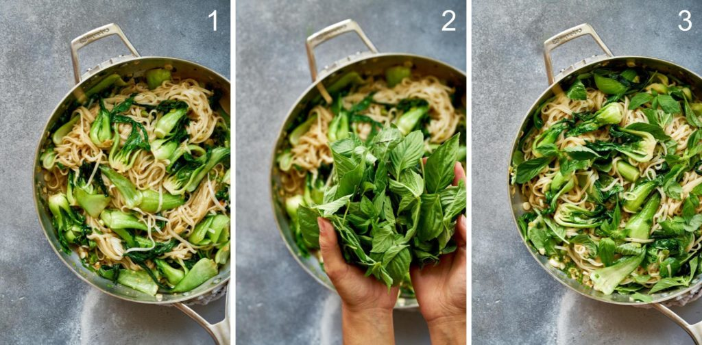 Step by step adding basil to noodle stir fry.