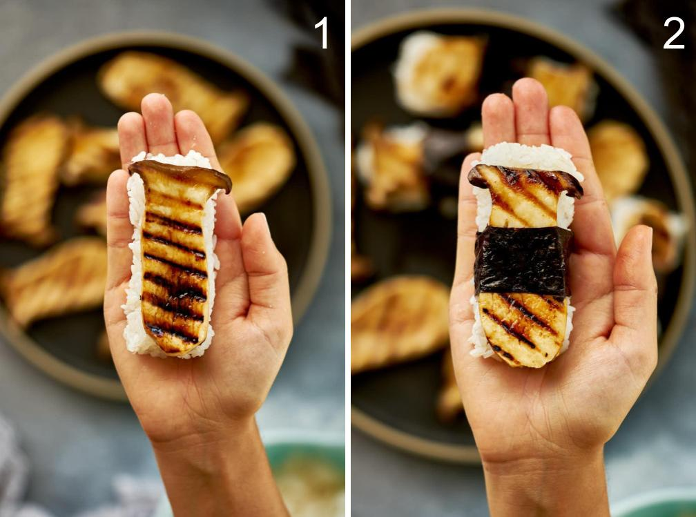Mushroom sushi in a hand with and without seaweed.