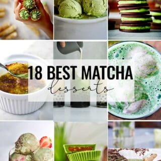 Collage of matcha desserts.