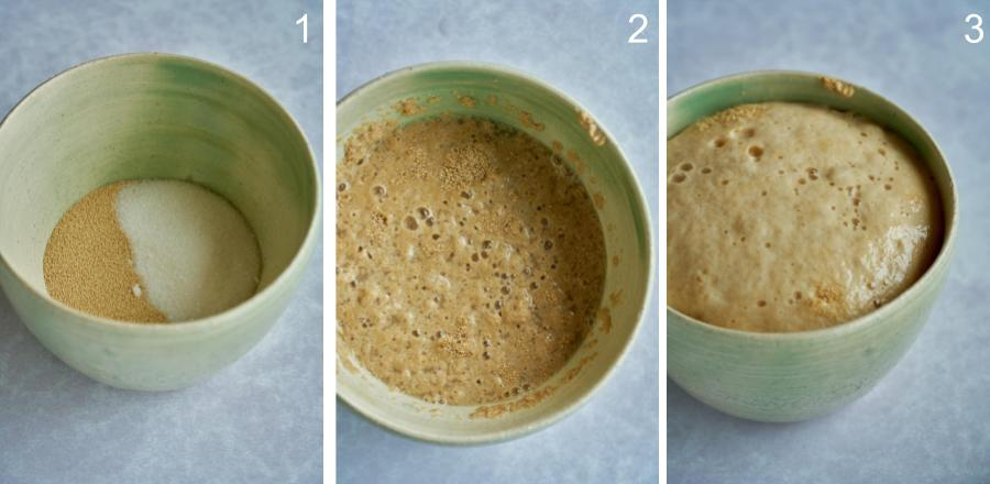 Three photos of bowl with yeast activation.