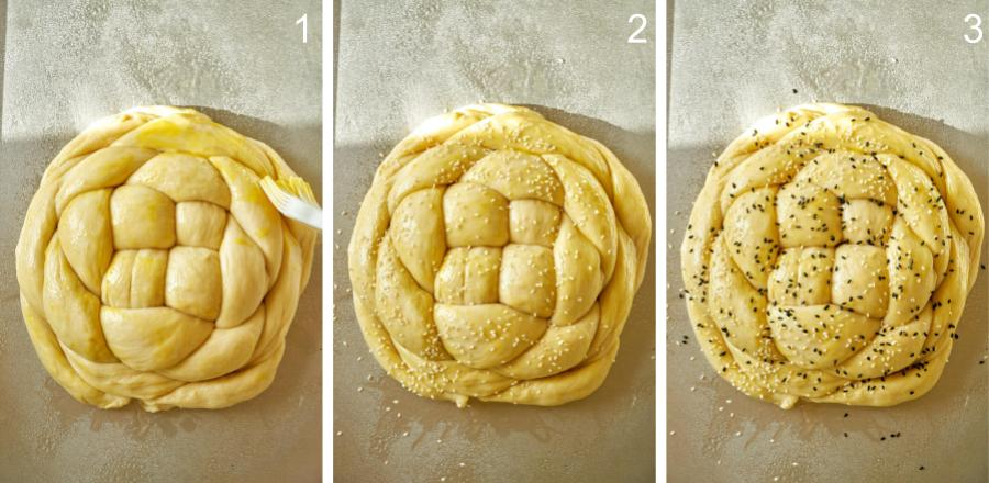 Uncooked round braided bread loaf.