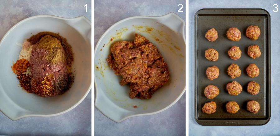 Step by step mixing meatballs.