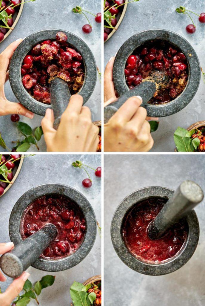 Step by step muddling cherries with sugar.