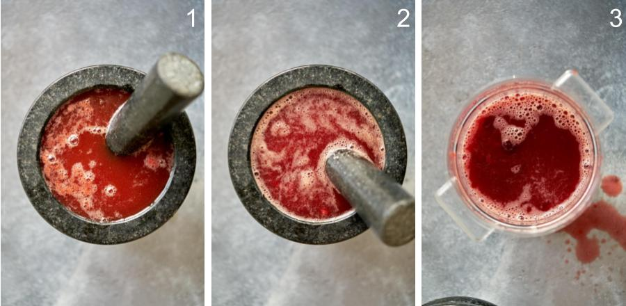 Mortar and pestle with red liquid.