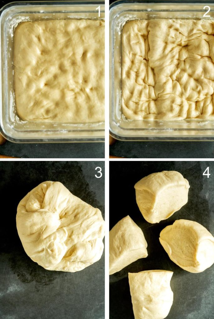 Step by step working dough and dividing into four dough balls.
