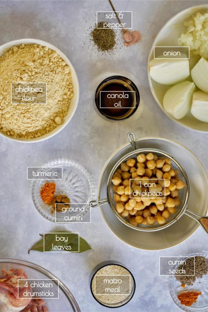 Flatlay with labeled ingredients for chickpea dumpling stew.