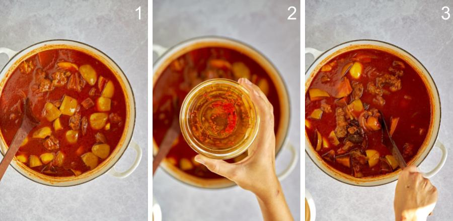 Adding saffron steeped in water to red stew.