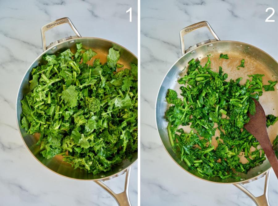 Broccoli rabe cooking in a silver pan.