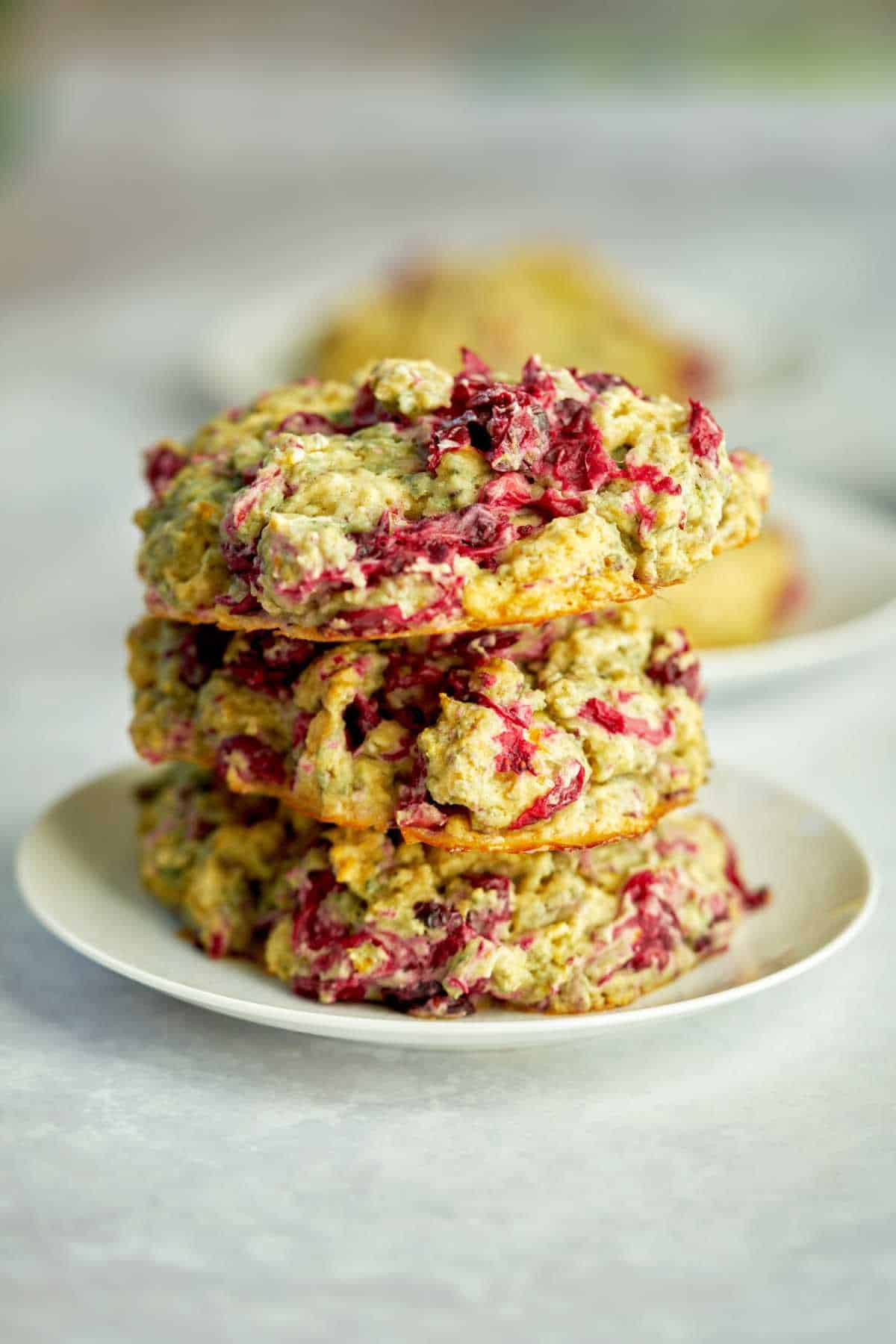 Three fruit scones stacked on top of each other.