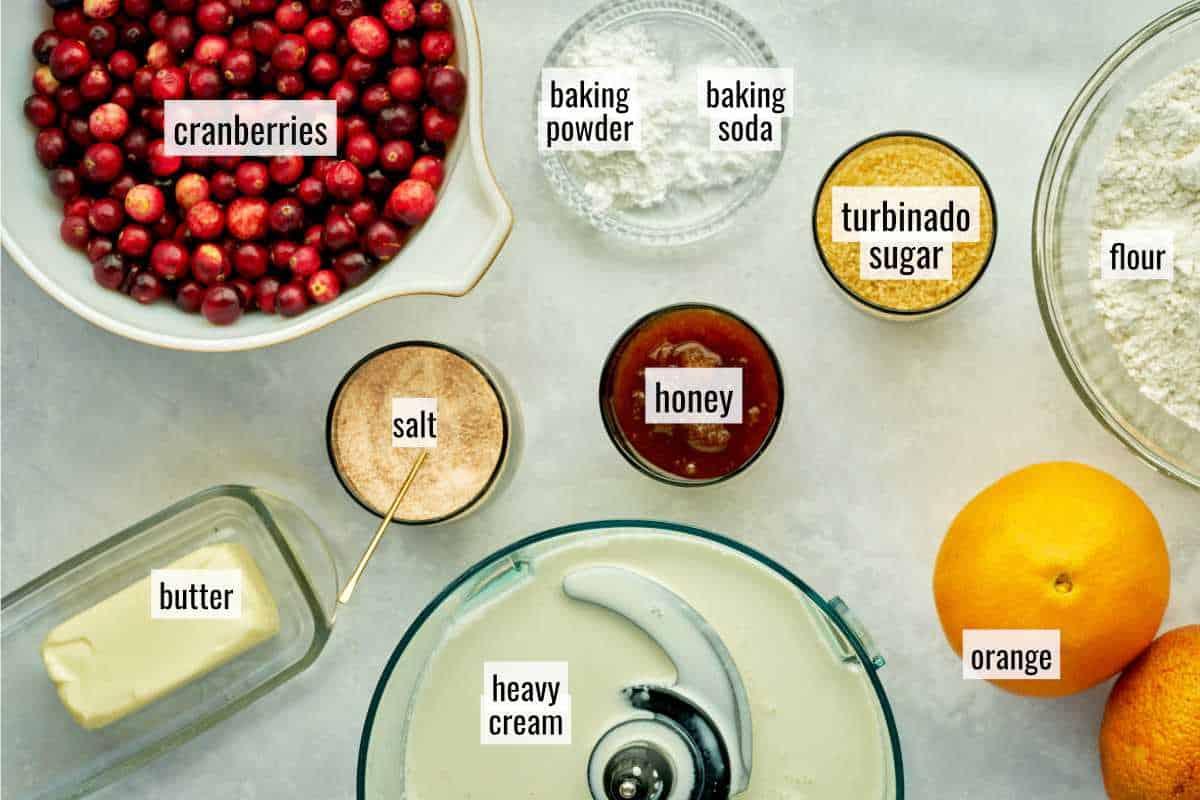 Ingredients for cranberry orange scone recipe.