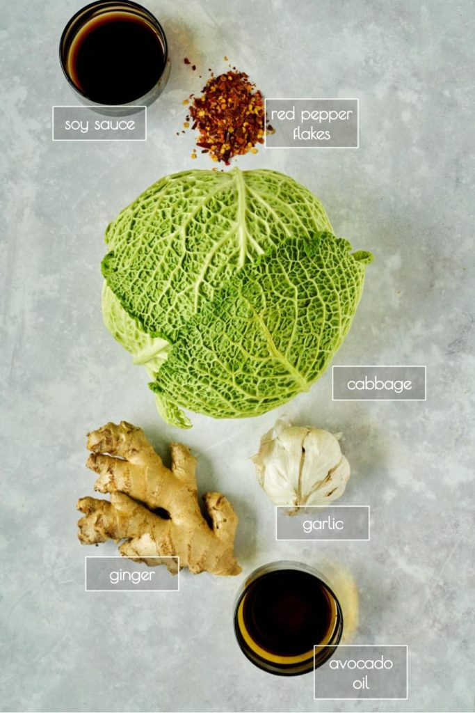 Ingredients like cabbage and ginger on a counter.
