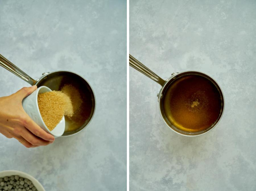 Pouring sugar into saucepan.