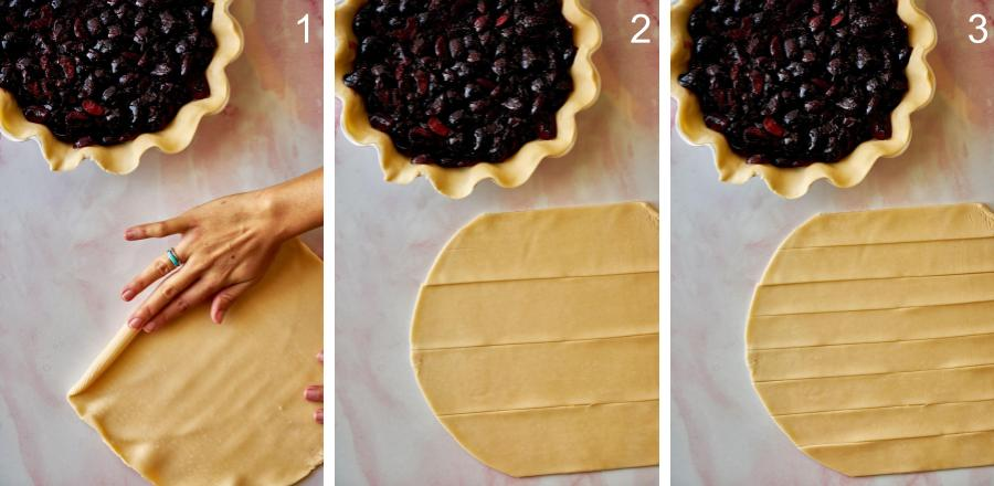 Cutting pie crust into strips.