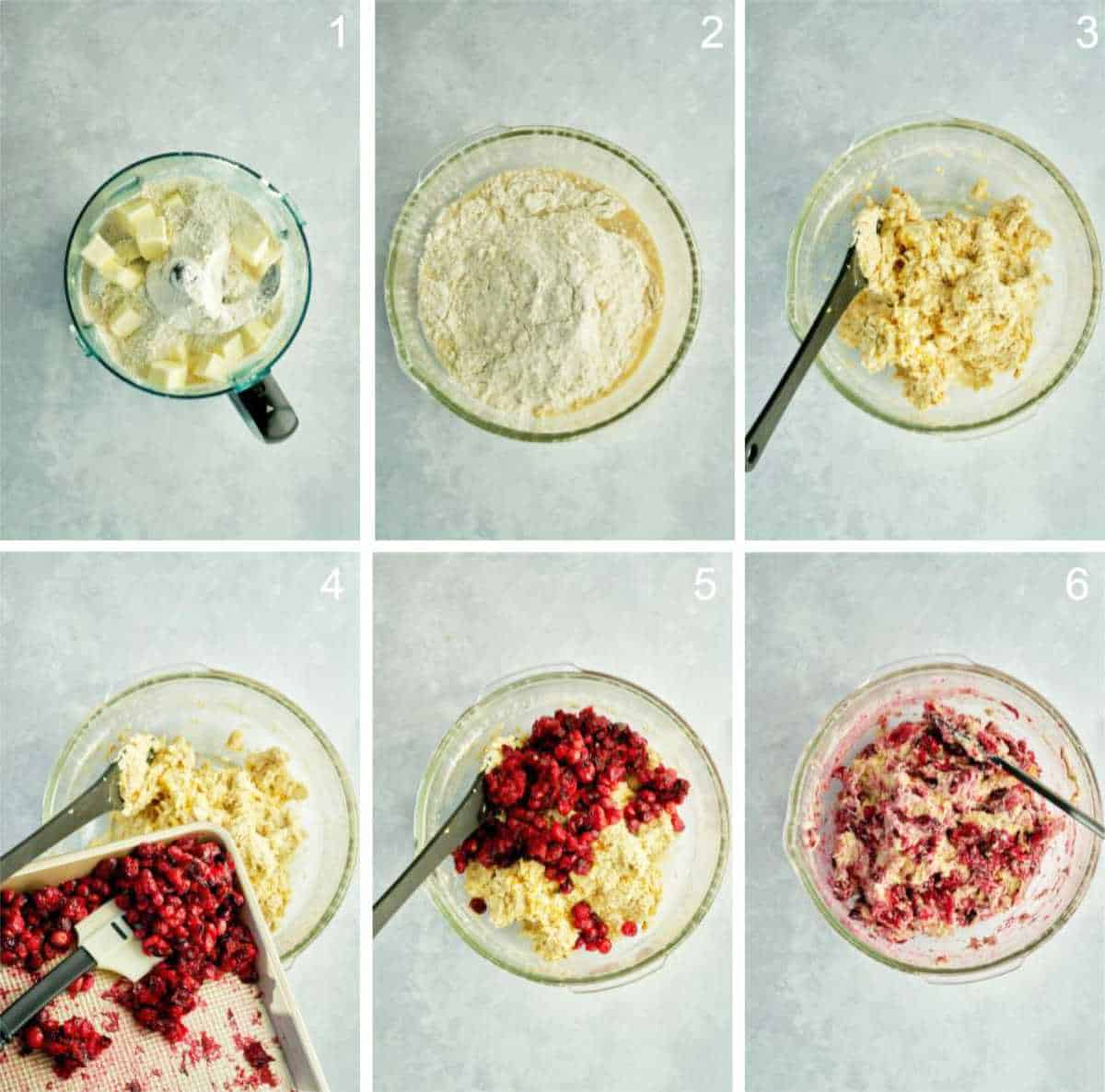 Mixing cranberry scone dough in a bowl.