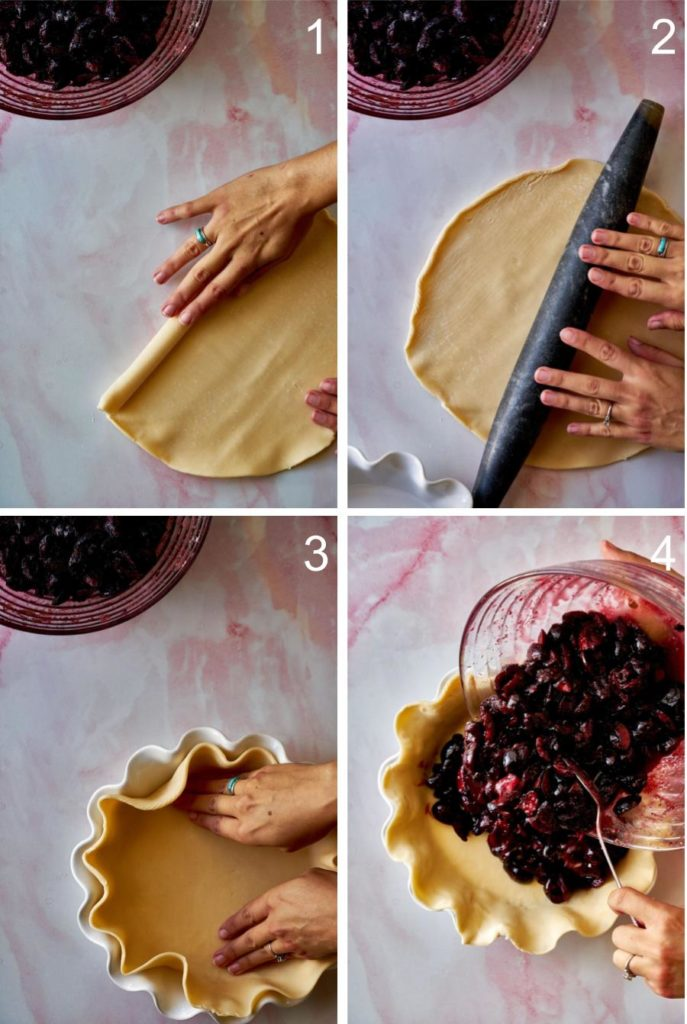 Step by step rolling out dough and adding filling to pie.