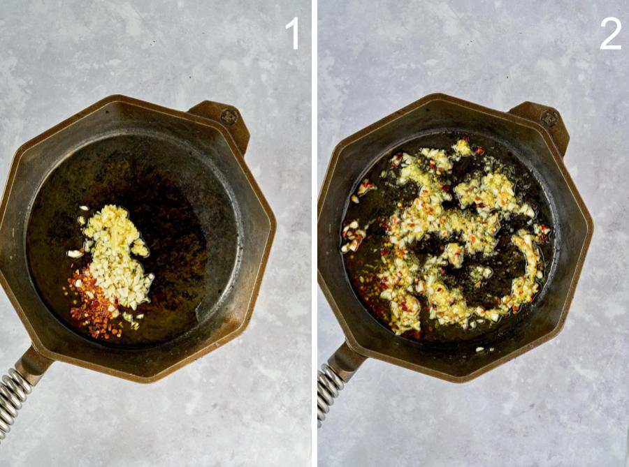 Cast iron pan with spices and garlic.
