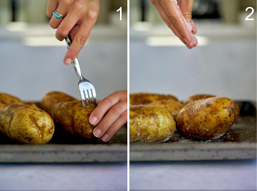 Poking potatoes with fork and seasoning them with salt.