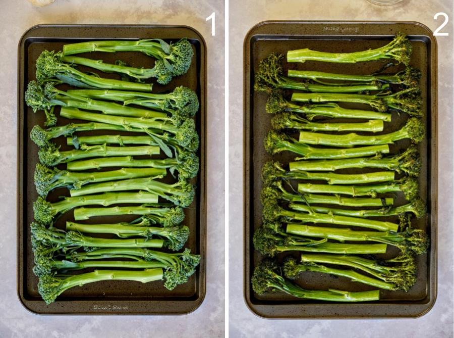 Broccolini on baking sheet.