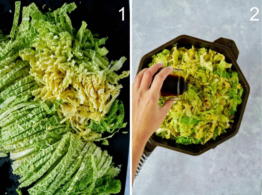 Pouring soy sauce over sauteed cabbage.