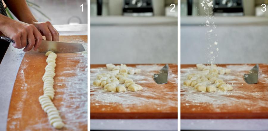 Cutting dough on a cutting board and sprinkling it with flour.