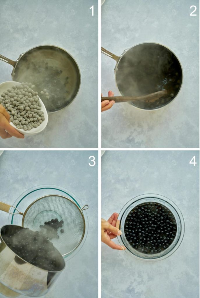 Pouring tapioca pearls into boiling water and draining them over a clear bowl.