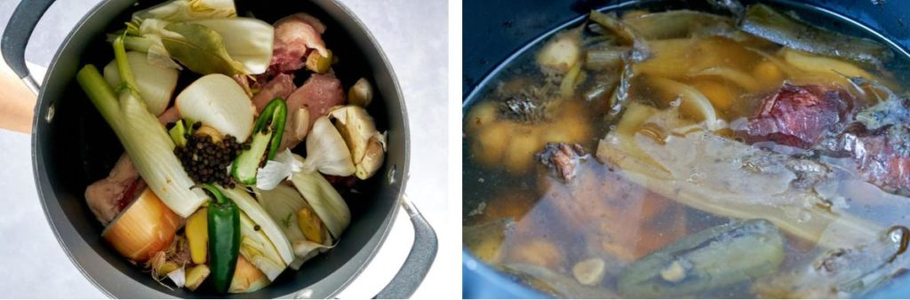 Before and after of bone broth cooking.