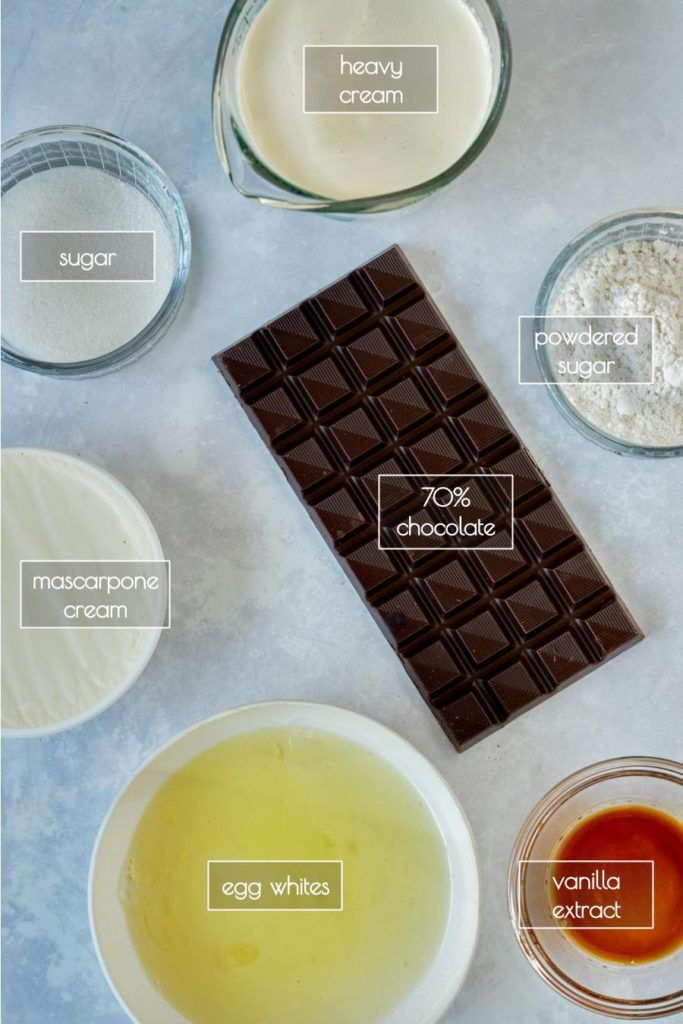 Flatlay of ingredients for chocolate mousse.