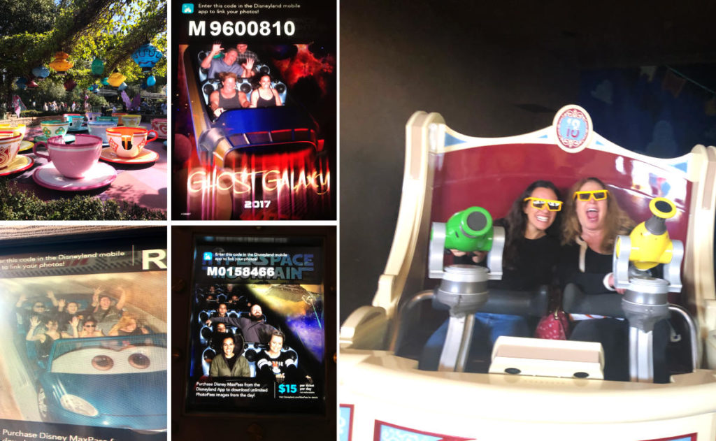 Pictures on rides at Disneyland.