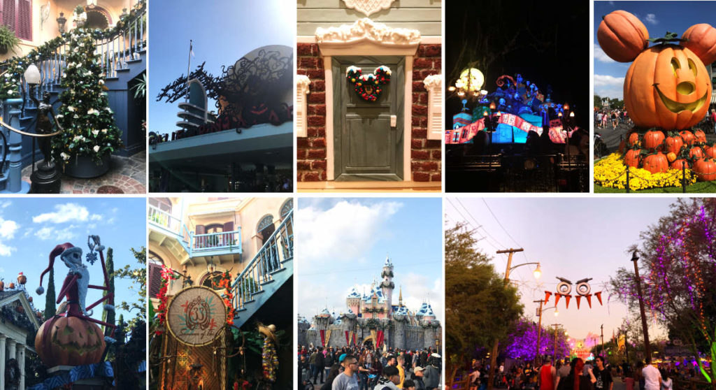 Pictures of different holidays at Disneyland.