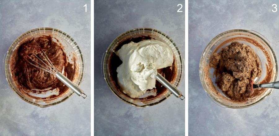 Mixing chocolate and whipped cream in a glass bowl.