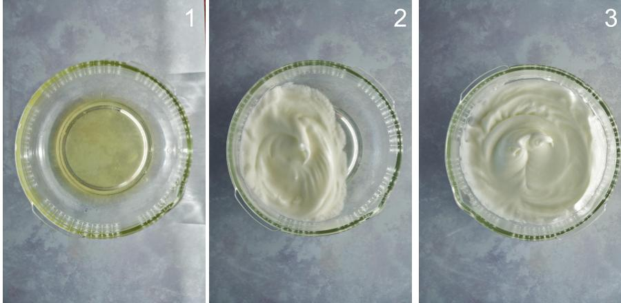 Before and after of whipped egg whites in a clear bowl.