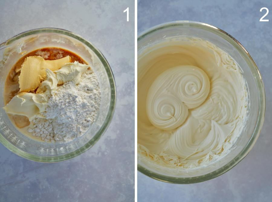 Whipping cream in a glass bowl.