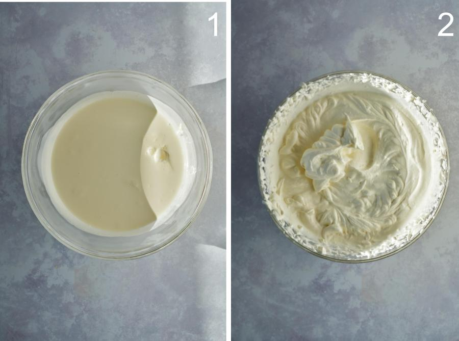 Before and after of whipped cream in a clear bowl.