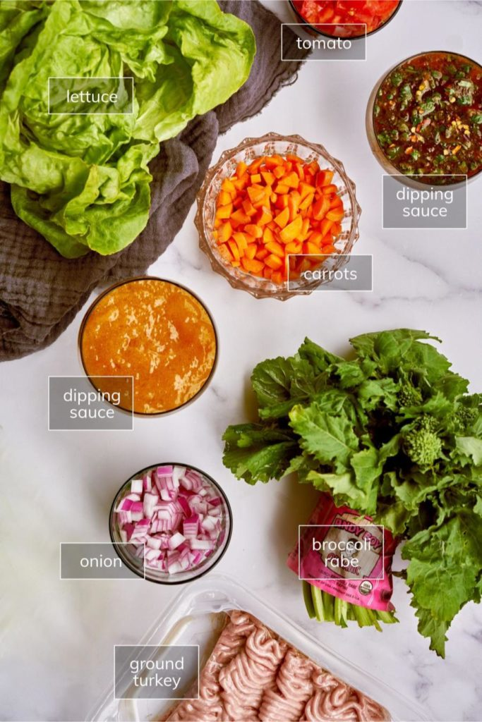 Measured ingredients for turkey lettuce wraps.